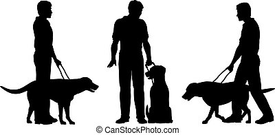 Guide dog - Editable vector silhouettes of a blind man and...