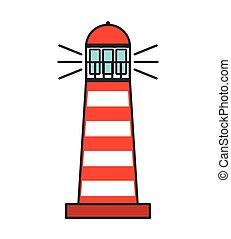 guide, phare, tour, icône