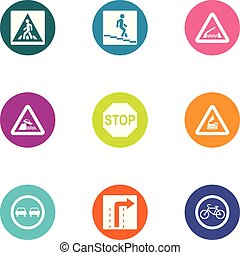 Guide sign icons set, flat style