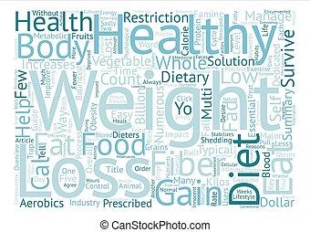 guide, till, hälsosam, viktförlust, text, bakgrund, ord, moln, begrepp