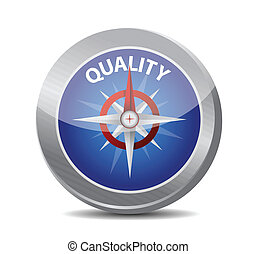 guide to great quality. compass illustration design over a ...