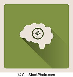 Guided brain illustration on green background with shade