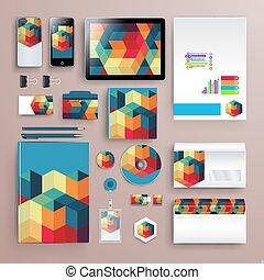 guideline., style, illustration., business, elements., couleur, modèle, compagnie, rapport, thème, vecteur, brandbook, papeterie, constitué, résumé, identité, gabarit