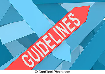 Guidelines word on red arrow pointing upward, 3d rendering