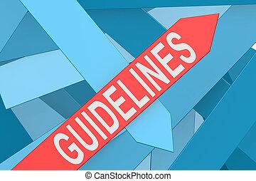 Guidelines arrow pointing upward