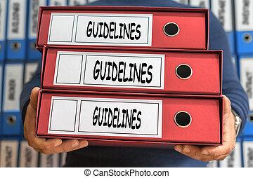 Guidelines concept words. Folder concept. Ring binders.