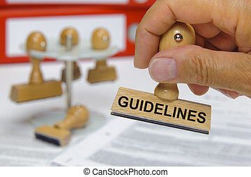 guidelines marked on rubber stamp