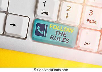 guidelines., projection, règlements, conformer, conceptuel, signe, suivre, texte, photo, rules., ou, apprendre, conformité