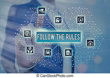 guidelines., suivre, texte, conformer, conceptuel, règlements, ou, rules., signe, photo, apprendre, conformité, projection