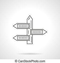 Guidepost flat line vector icon