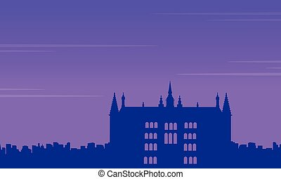 Guidhall London at night landscape silhouettes