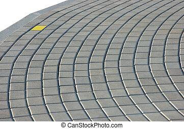 guijarro, pavimento, ladrillo, textura, amarillo