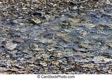guijas, texturas, reflexión, agua, debajo, ondas