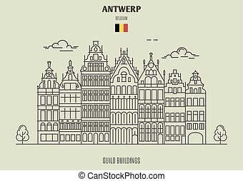 Guild Buildings in Antwerp, Belgium. Landmark icon in linear...