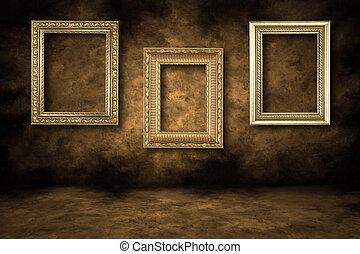 guilded, lege, schilderijlijsten, hangend