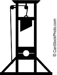 guilhotina, um, antiga, instrumento, para, execução