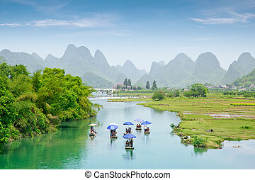 guilin - beautiful pastoral landscape in yulong river...