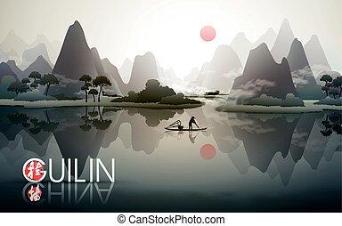 guilin, cartaz, china, viagem