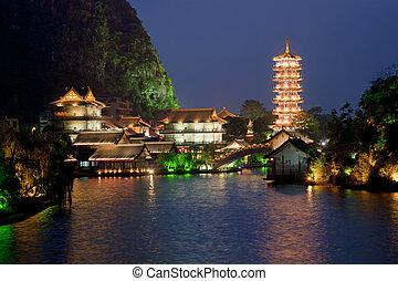 Guilin China - Mulong Pagoda also known as the Mulong Tower...