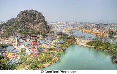 li river view from deicai hill guilin china