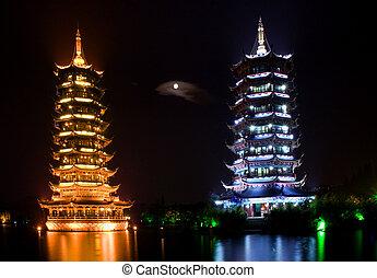 guilin, porcelaine, deux, pagodes