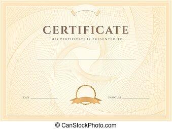 guilloche, achèvement, diplôme, certificat
