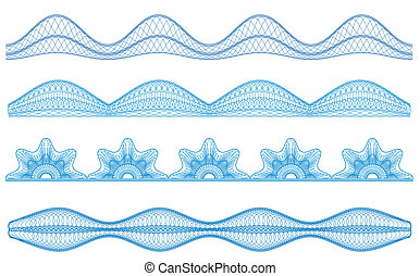Guilloche borders, vector pattern for currency, certificate or diplomas