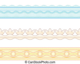 Guilloche borders, vector pattern for currency, certificate ...