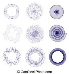 Guilloche elements - A vector illustration of guilloche ...