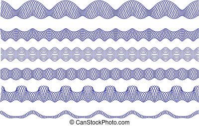 guilloche, kanter, vektor, mønster