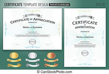 guilloche, mal, certificaat, toewijzen, lint, appreciatie, ouderwetse , stijl, achtergrond, set, abstract, grens