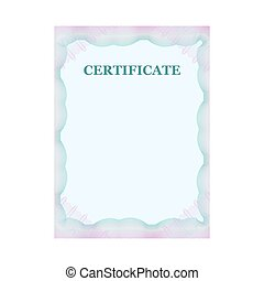 Guilloche official blue certificate with frame