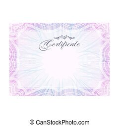 Guilloche official pink certificate with frame, horizontal