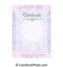 Guilloche official pink certificate with frame