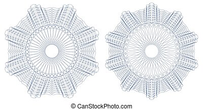 Guilloche pattern rosette. Vector illustration.