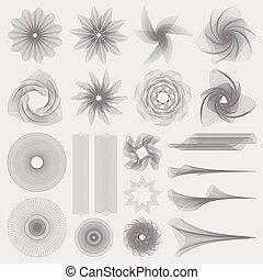 guilloche, set, bordo, modello, watermark