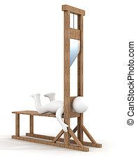 guillotina, en, un, blanco, fondo., 3d, image.