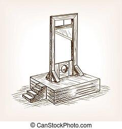 guillotine, croquis, vecteur, style, illustration