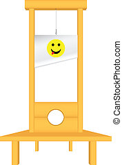 The instrument of punishment - with a cheerful face on the guillotine. Vector illustration.