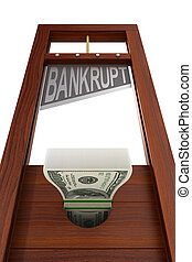guillotine with text bankrupt on white background. Isolated ...