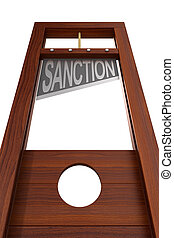 guillotine with text sanction on white background. Isolated ...