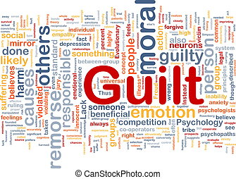 Guilt background concept - Background concept wordcloud...