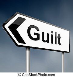illustration depicting a sign post with directional arrow containing a guilt concept. Blurred background.