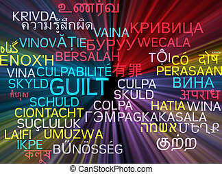 Guilt multilanguage wordcloud background concept glowing