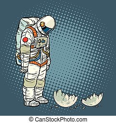 guilty astronaut looks at the ruined moon