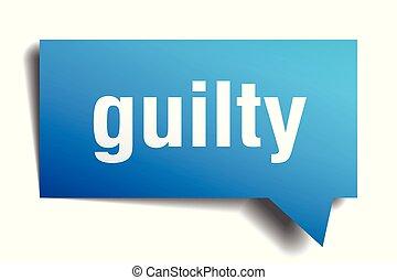 guilty blue 3d speech bubble - guilty blue 3d square...