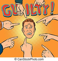 guilty, hands point to the center. Pop art retro comics...