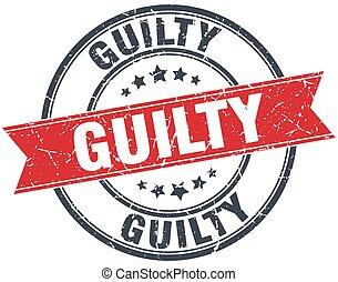 guilty red round grunge vintage ribbon stamp