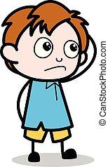 Guilty - School Boy Cartoon Character Vector Illustration