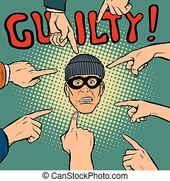 guilty thief robber, hands point to the center. Pop art...
